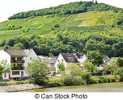 Stock Photography of Ellenz Poltersdorf village on Moselle.