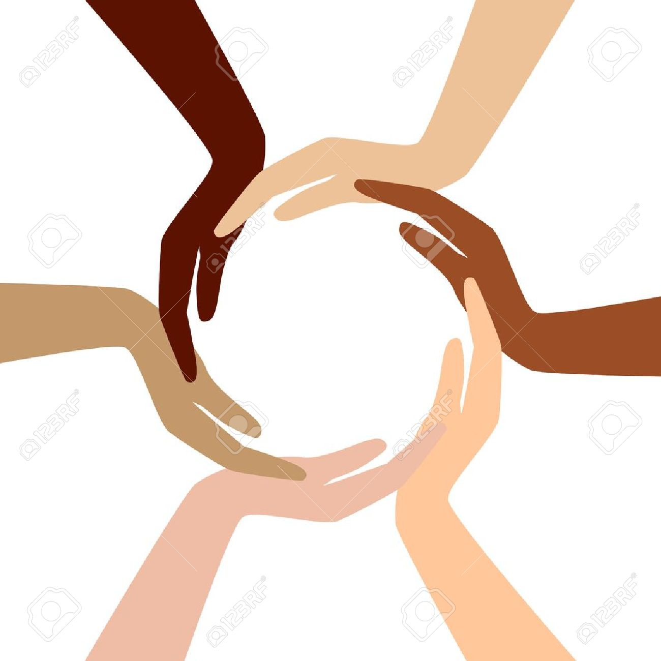 Circle From Different Hands Royalty Free Cliparts, Vectors, And.