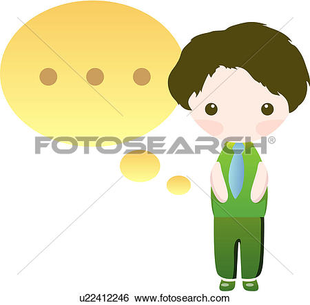 Clip Art of Girl with thought bubble ellipses u16530936.