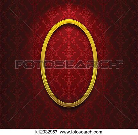 Clip Art of Elliptic frame on red wallpaper k12932957.