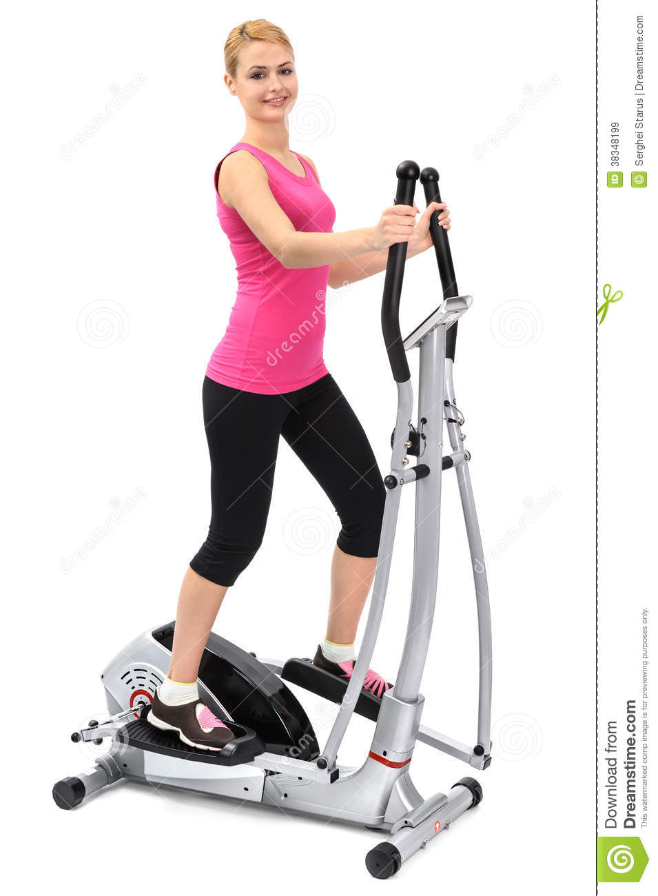 Woman on elliptical clipart.