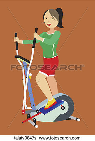 Stock Illustration of Woman on elliptical trainer. talatv0847s.