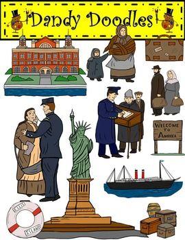 Ellis Island Immigration Clip Art by Dandy Doodles.