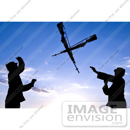 Stock Photo Of Two Silhouetted Soldiers Practicing An Over The.