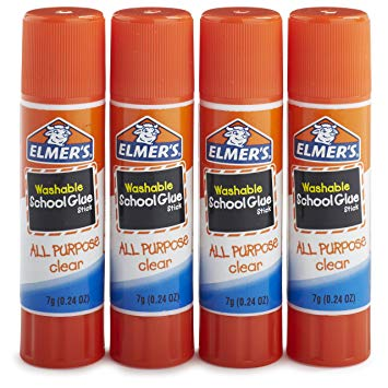 Elmer's All Purpose School Glue Sticks, Clear, Washable, 4 Pack, 0.24.