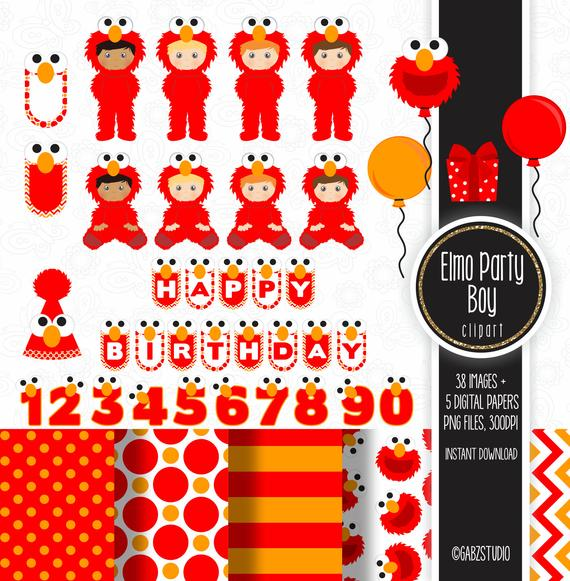 Elmo Party Boy, Elmo Party Theme, First Birthday, Birthday, Digital Paper,  Clipart, Balloons, Gabz.