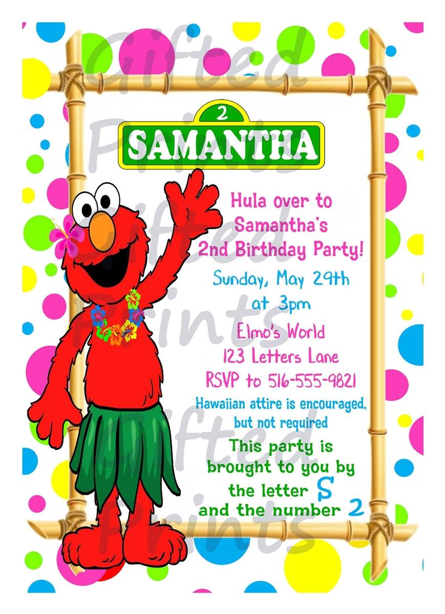 Elmo Luau Birthday Invitation.