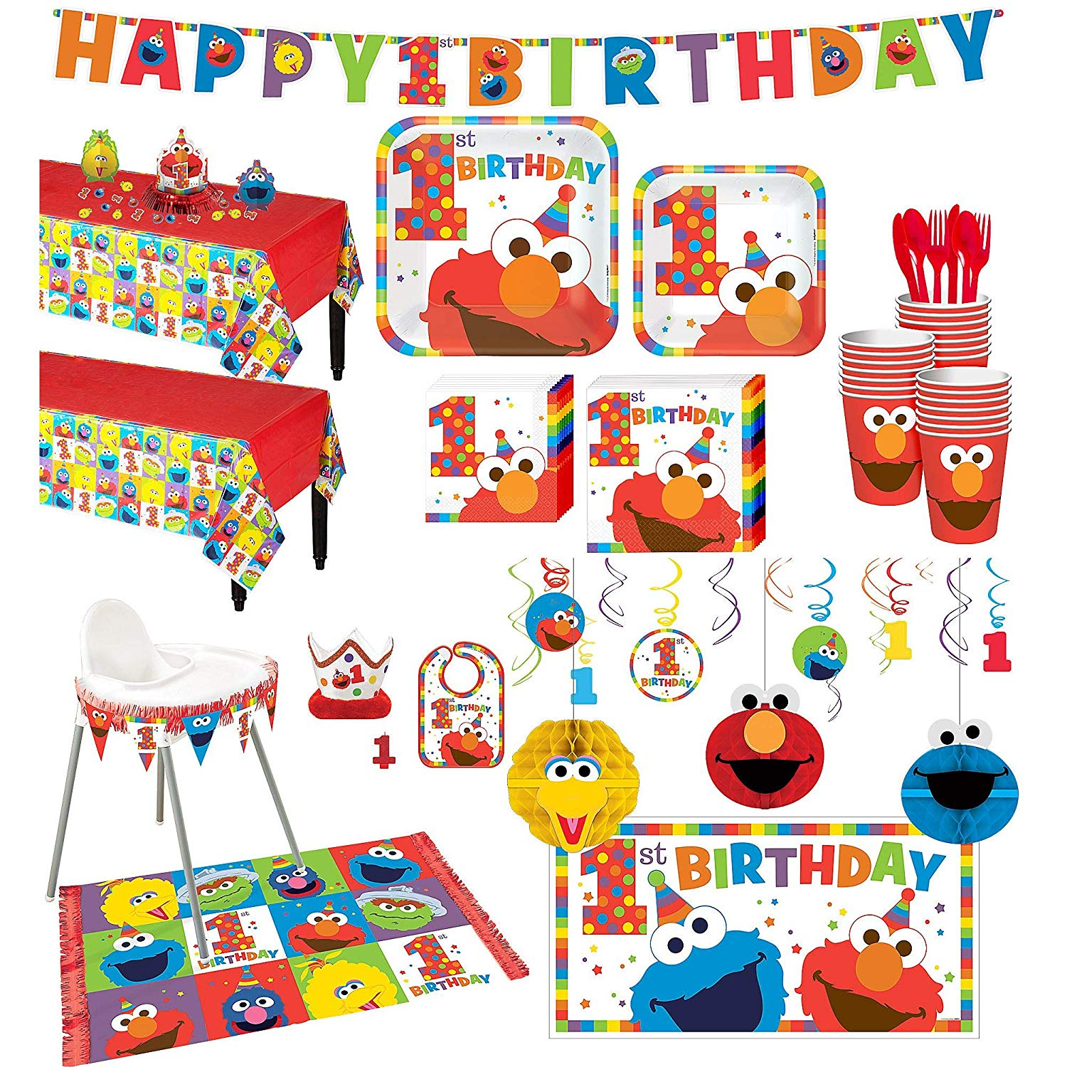 Party City 1st Birthday Elmo Deluxe Party Kit for 32 Guests, Includes High  Chair Decorating Kit, Candle and More.