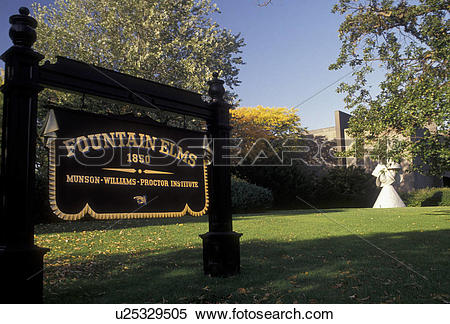 Stock Image of Utica, New York, Fountain Elms built in 1850 at the.