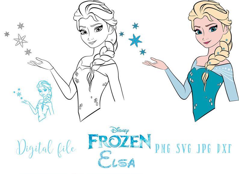 Elsa Frozen SVG, vector file, Frozen clipart. Instant download Template..