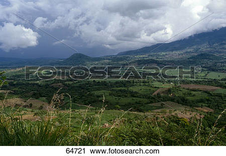 Stock Photography of Overcast sky above valley, El Salvador 64721.