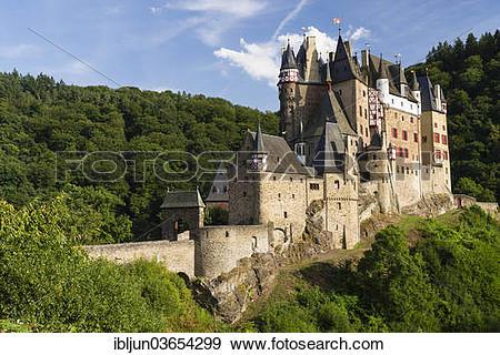 """Stock Photograph of """"Burg Eltz Castle, castle built on a hill."""