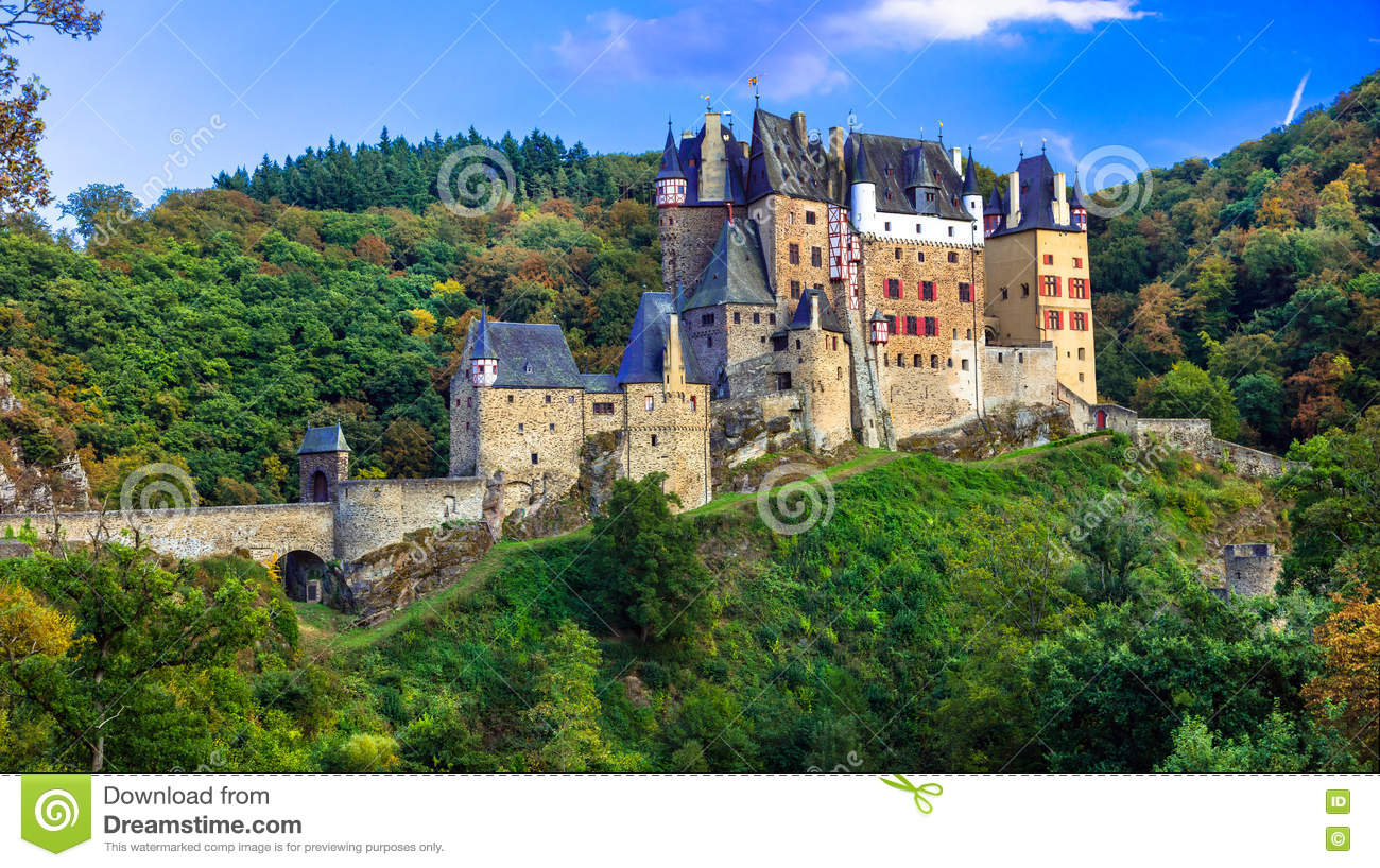 Romantic Castle Burg Eltz, Mosel, Germany Royalty Free Stock Photo.