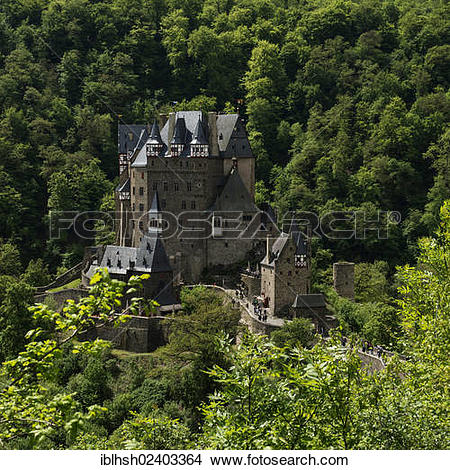 "Stock Photo of ""Burg Eltz castle from the Elz river valley."