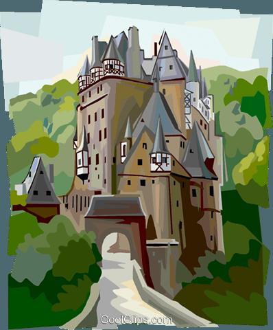 Burg Eltz Castle, Germany Royalty Free Vector Clip Art.