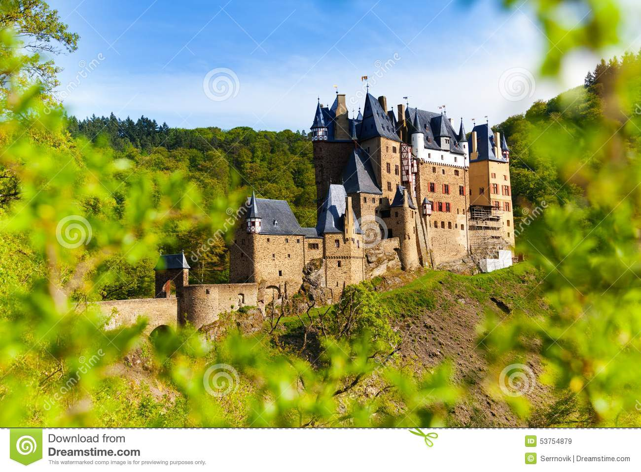 Eltz Castle In Germany From The Forest Stock Photo.