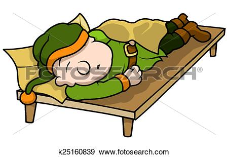 Clip Art of Green Elf Sleeping k25160839.