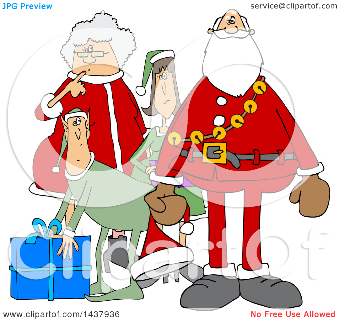 Clipart of a Cartoon Christmas Santa Claus with the Mrs and Elves.