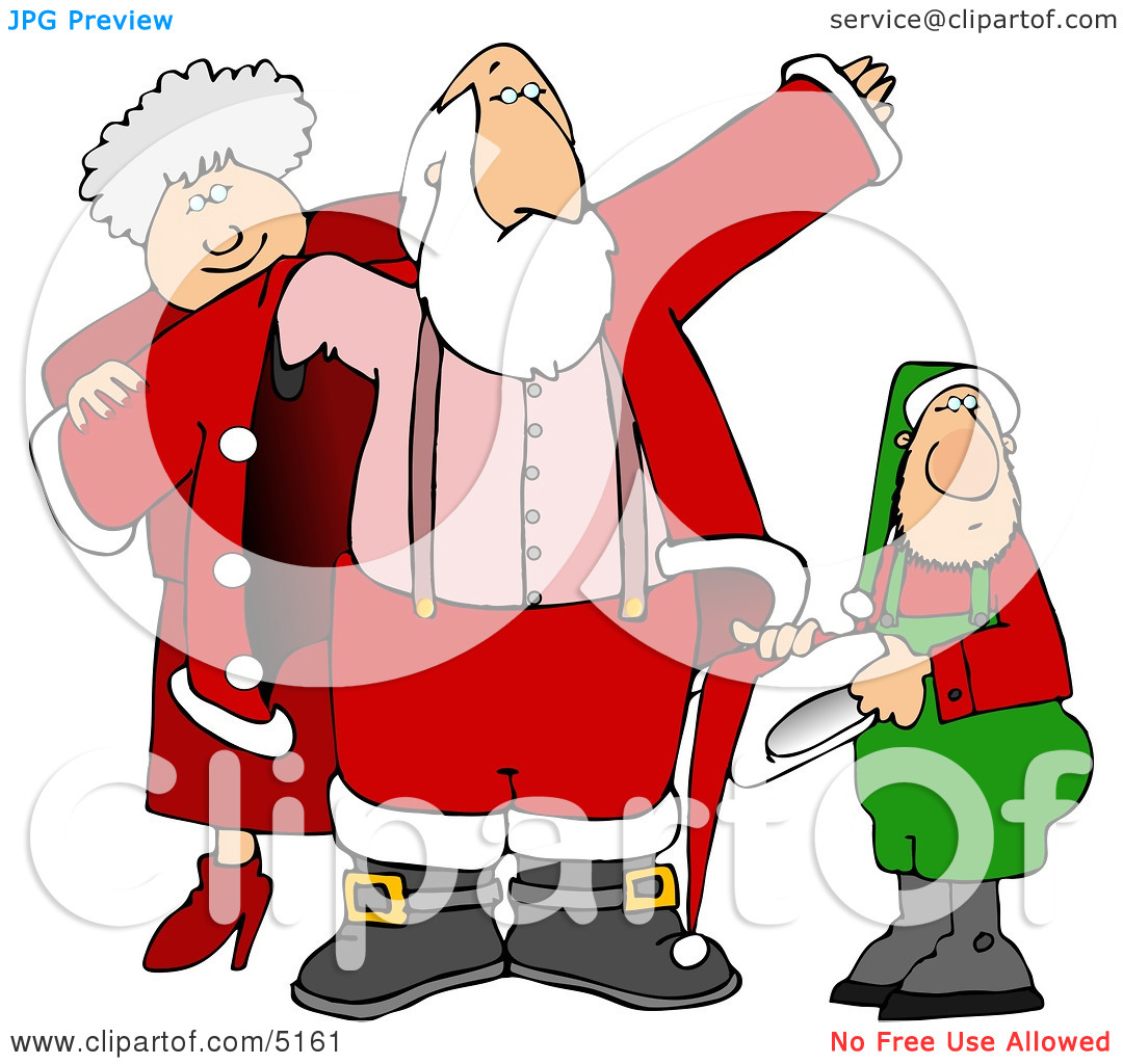 Mrs. Claus & Elf Helping Santa Get Dressed for Christmas Clipart.