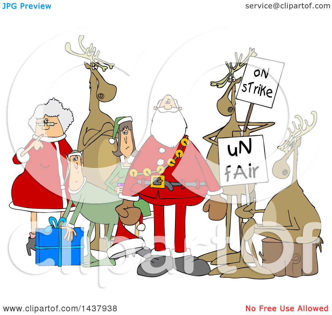 Clipart of a Cartoon Christmas Santa Claus with the Mrs, Elves and.