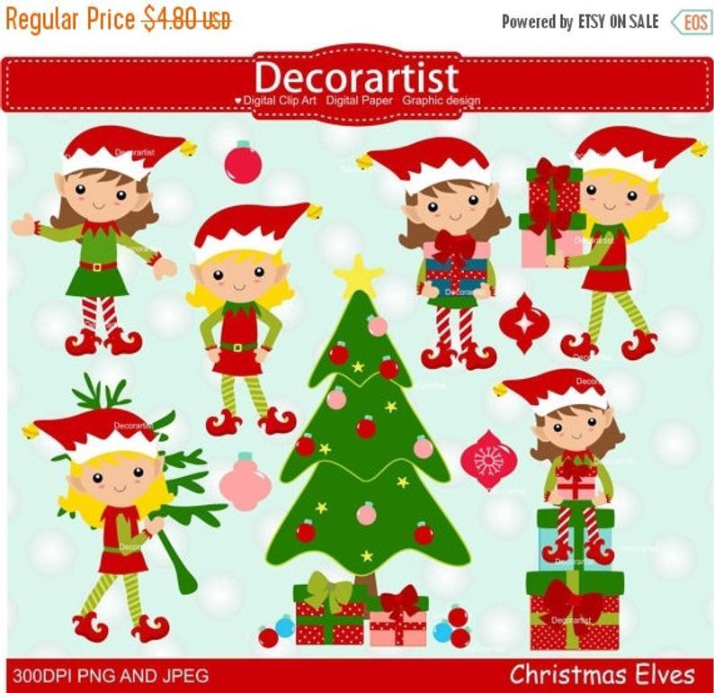 ON SALE Christmas elf clip art, Christmas clip art, elf girl clip art,  elves clip art, Christmas elves clip art, instant download.