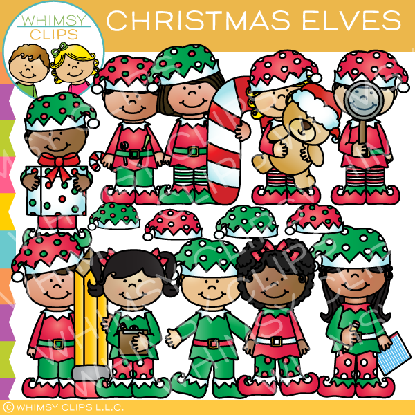 Christmas Elves Clip Art.