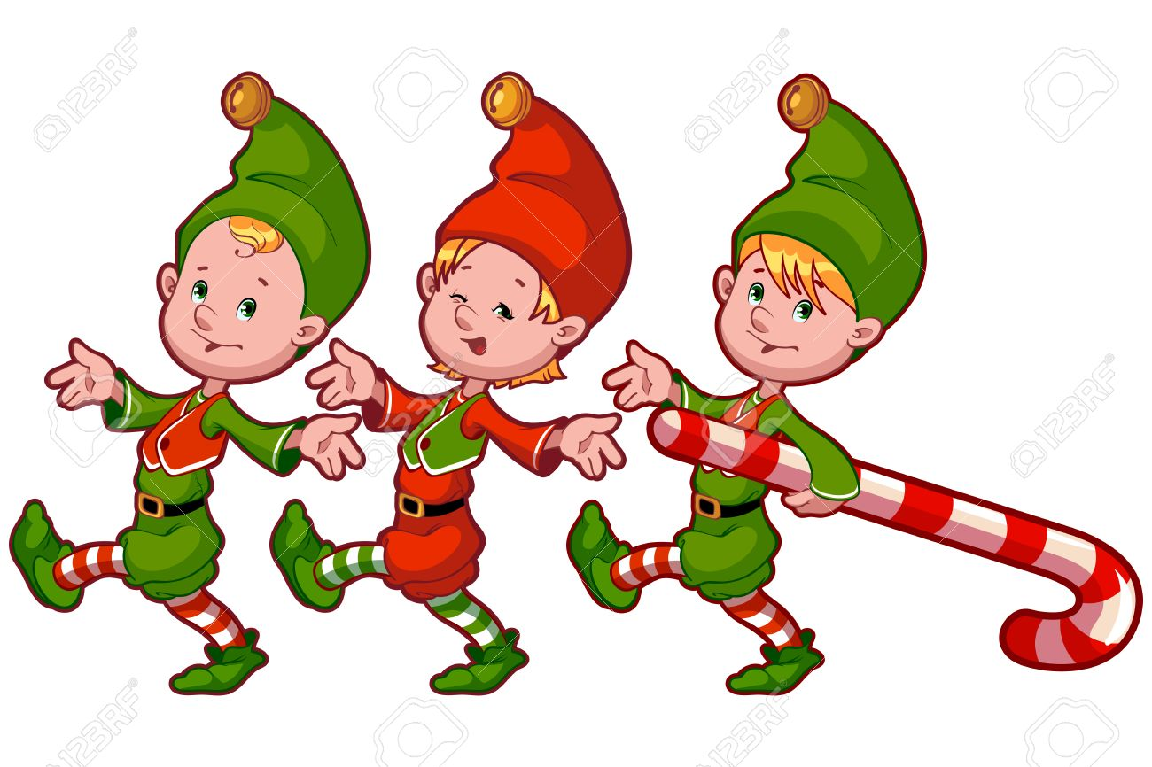 Christmas elves with candy. Vector clip.