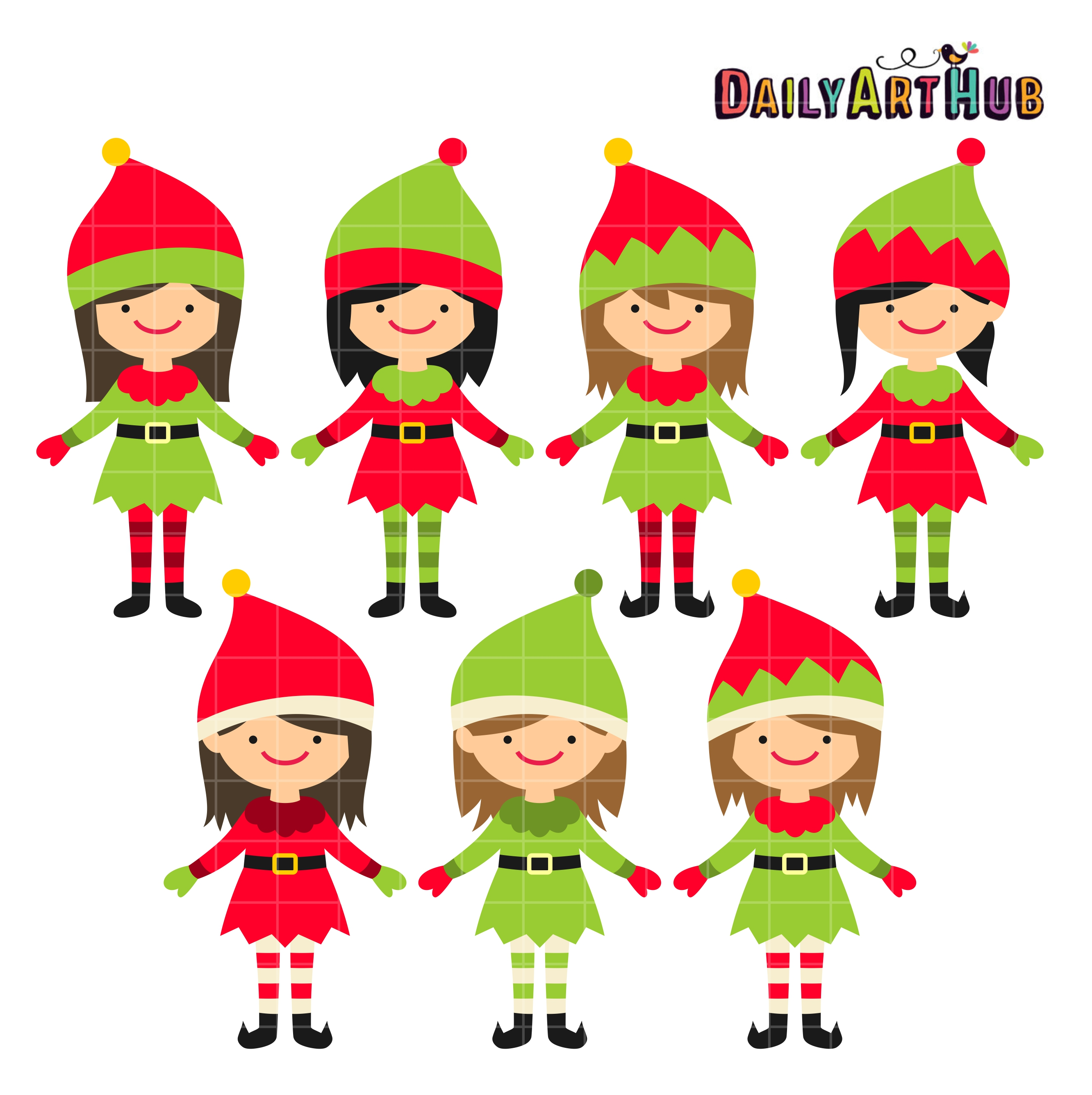 Cute christmas elves clipart.