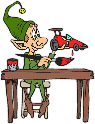 Elf clipart toy making.