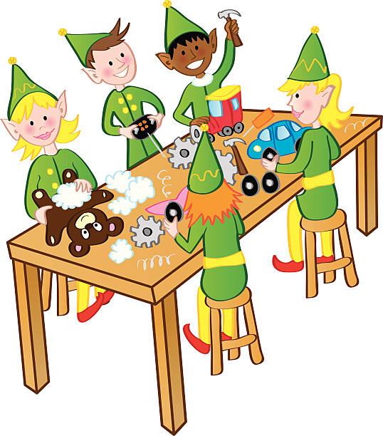 Elves Working Clipart.