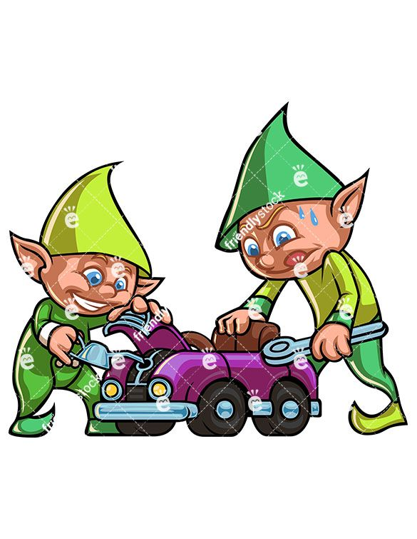 Two Christmas Elves Working Together To Build A Car Toy For.