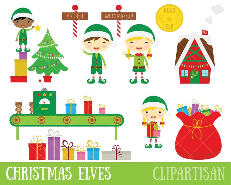 Christmas Elves Clipart / Santa's Workshop / Elf Clip Art.