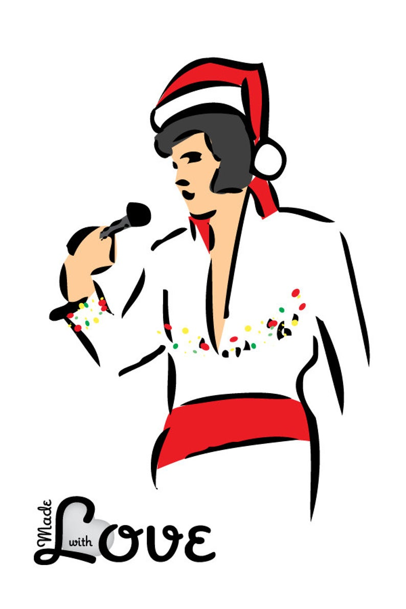 Vector Christmas Elvis Brushstroke Illustration in Jumpsuit and Santa Hat.