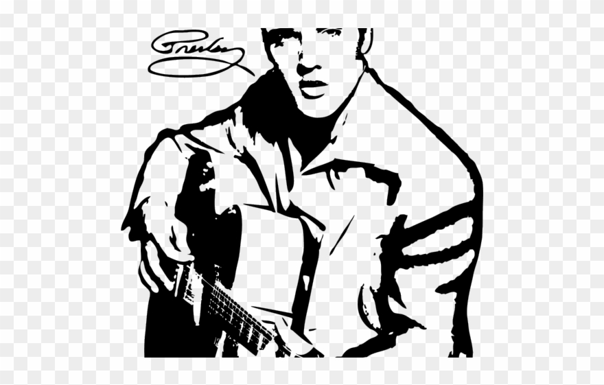 Elvis Presley In Black And White Clipart (#4945431).