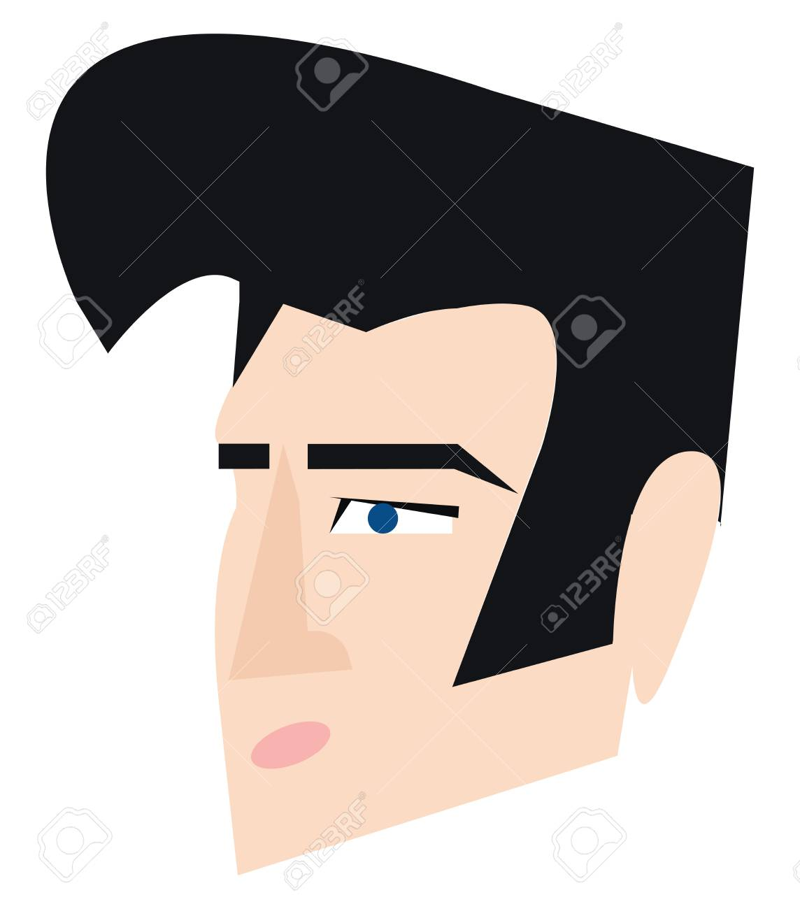 Clipart of Elvis Presley with his signature hair style vector...