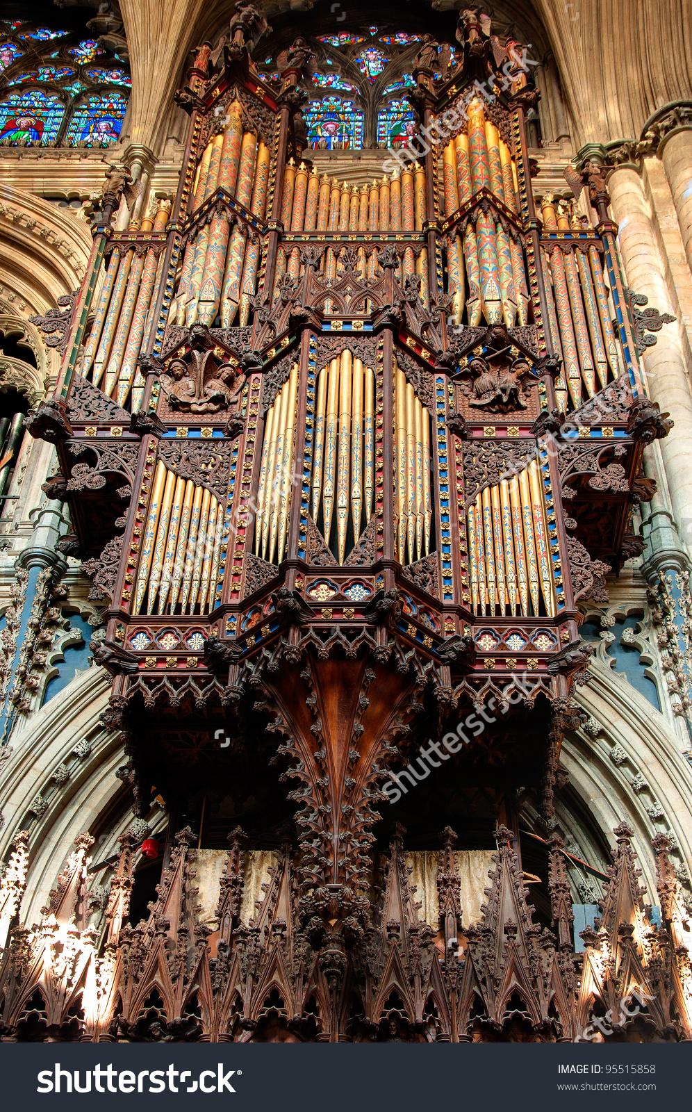 Church Organ Ely Cathedral Cambridgeshire England Stock Photo.
