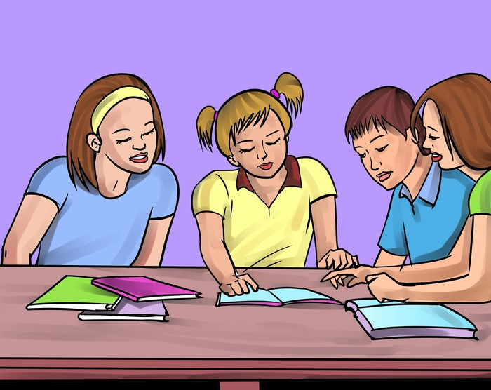 Student reading expresively clipart.