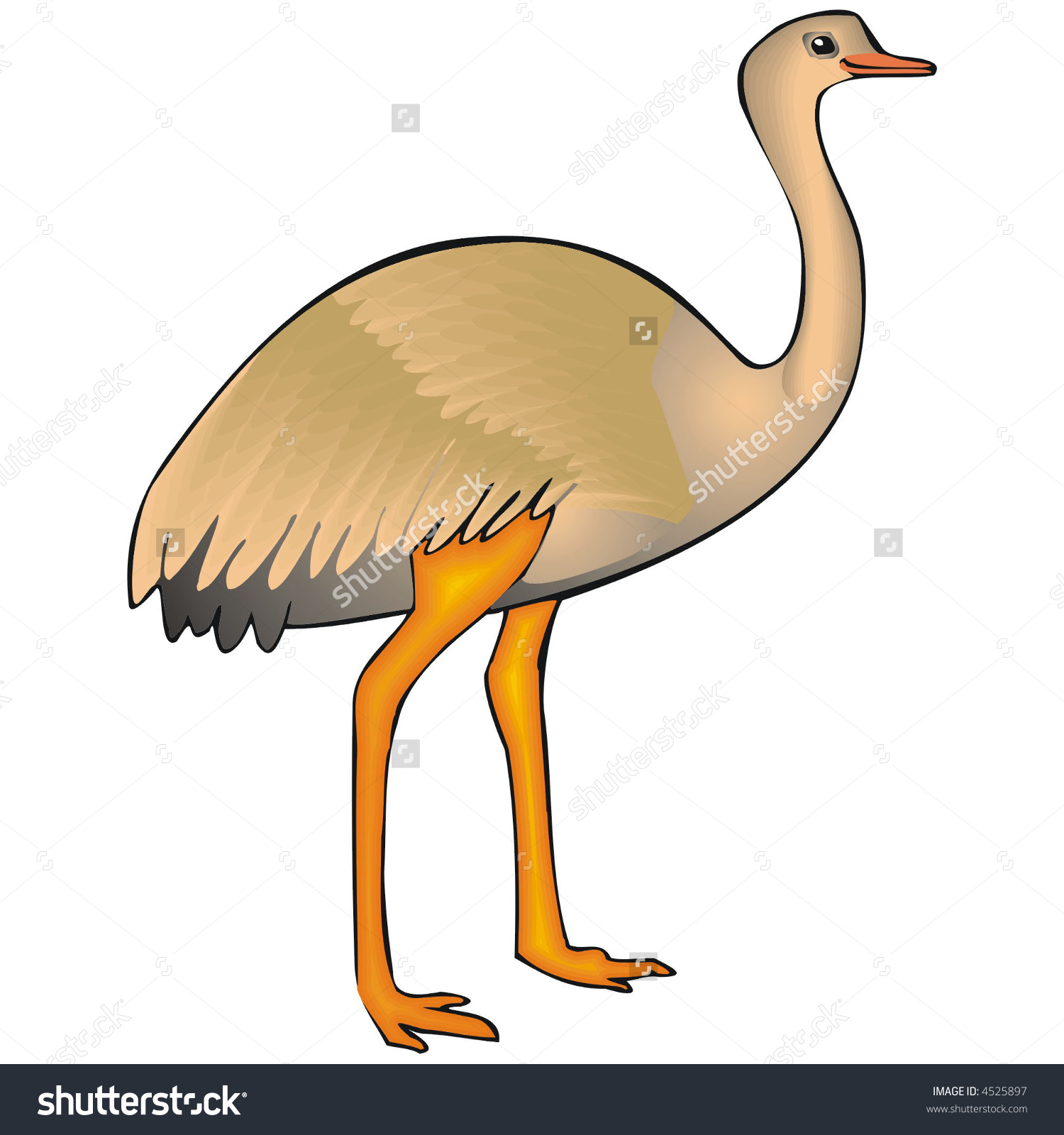Art Illustration Big Bird Named Ema Stock Vector 4525897.