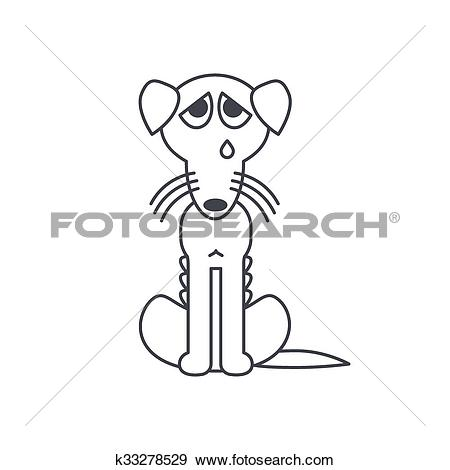 Clip Art of Poor emaciated crying dog line icon k33278529.