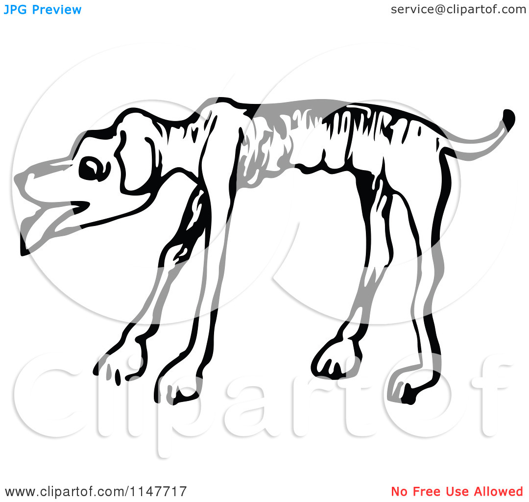 Clipart of a Retro Vintage Black and White Emaciated Dog.