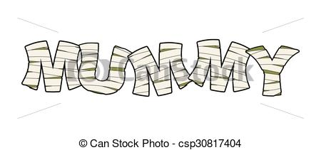 Vector Clipart of Mummy. Text in bandages. Egyptian Monster.