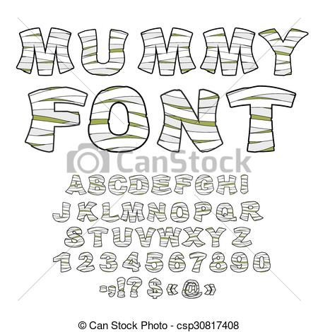Vector Clipart of Mummy font. Alphabet in bandages. Monster zombie.