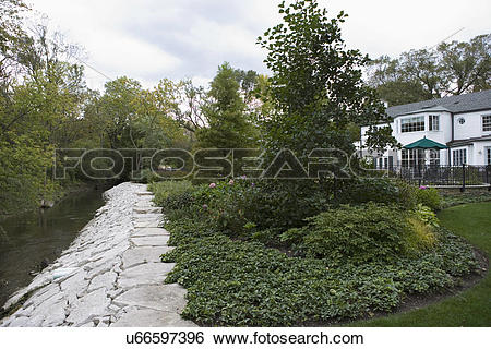 Stock Images of GARDENS: River to the left, stone embankment.