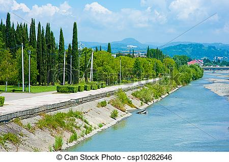 Stock Photo of Embankment Mzymta river in Sochi.