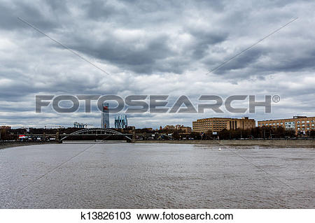 Stock Photo of Moscow River Embankment and Sparrow Hills Cityscape.
