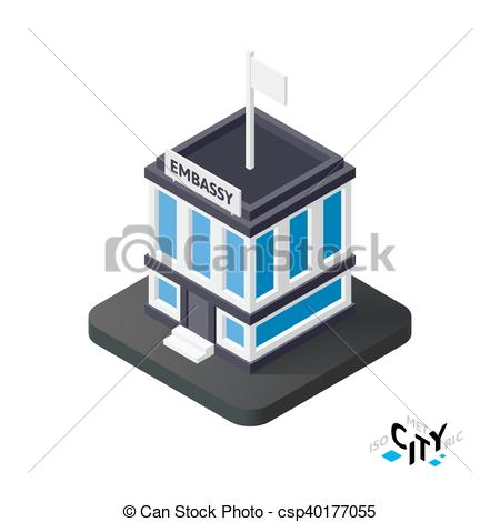 Clipart Vector of Isometric embassy icon, building city.