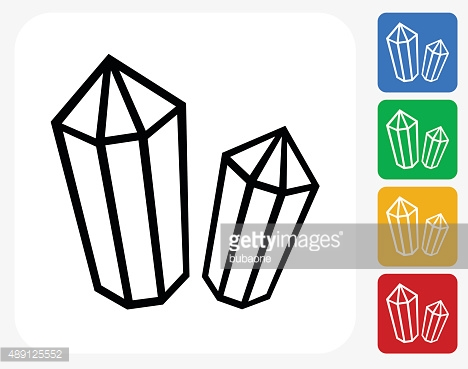 Crystal And Minerals Icon Flat Graphic Design Vector Art.