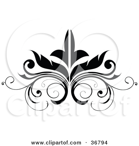 Clipart Illustration of a Black Embellishment Design by.
