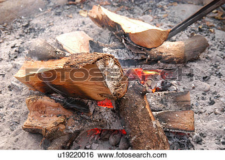 Stock Images of heat, campfire, ember, burning, wood, firewood.