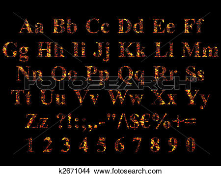 Drawings of Times New Roman Alphabet stylized to charred embers.